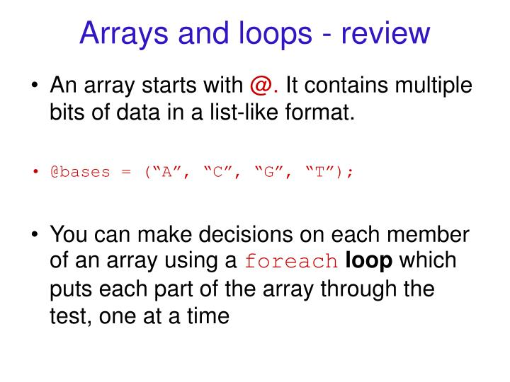 Arrays and loops - review