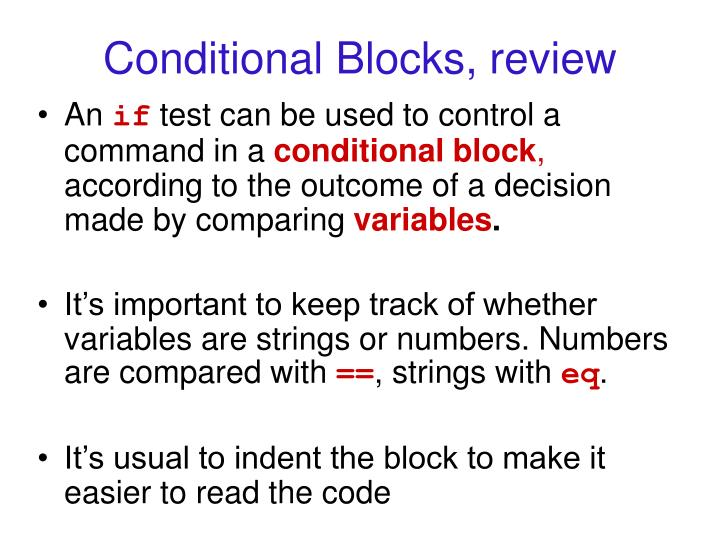 Conditional Blocks, review