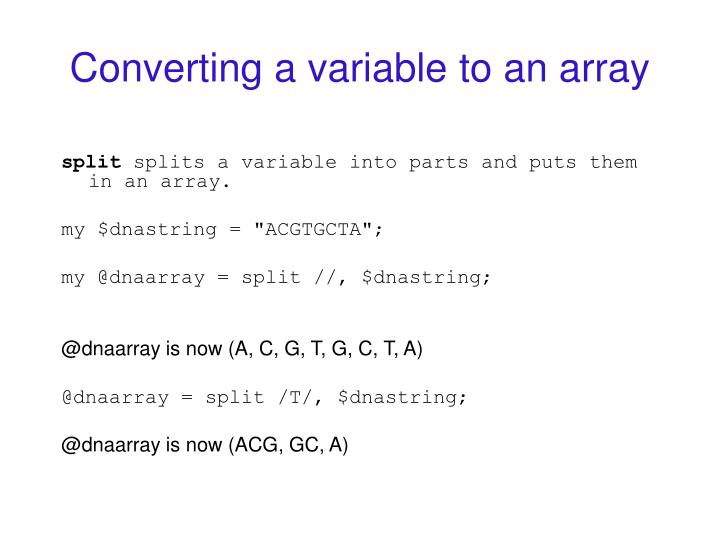Converting a variable to an array
