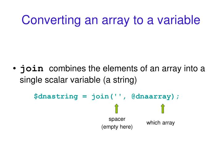Converting an array to a variable