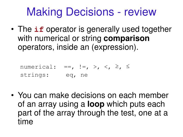 Making Decisions - review