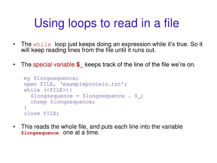 Using loops to read in a file