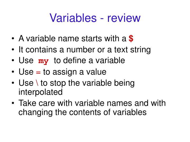 Variables - review