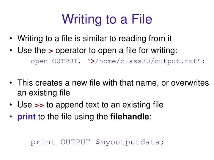 Writing to a File