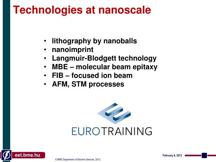 Technologies at nanoscale