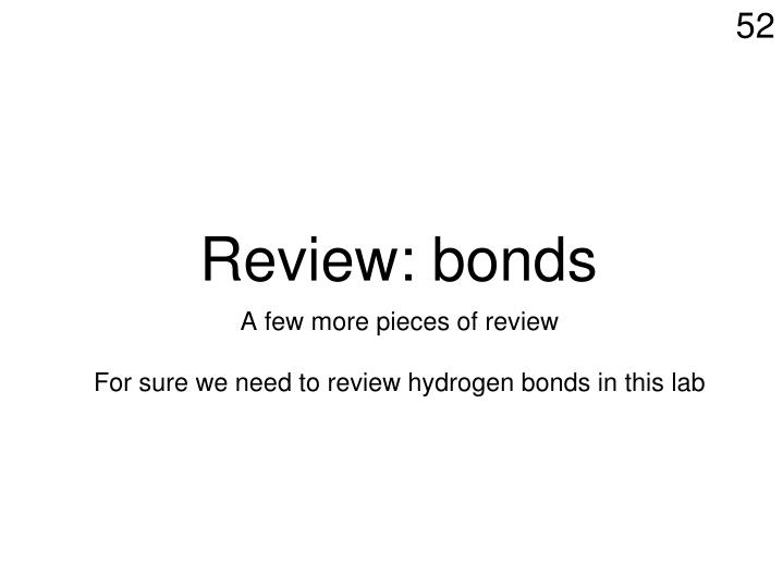 Review: bonds