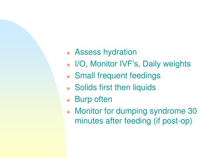 Assess hydration