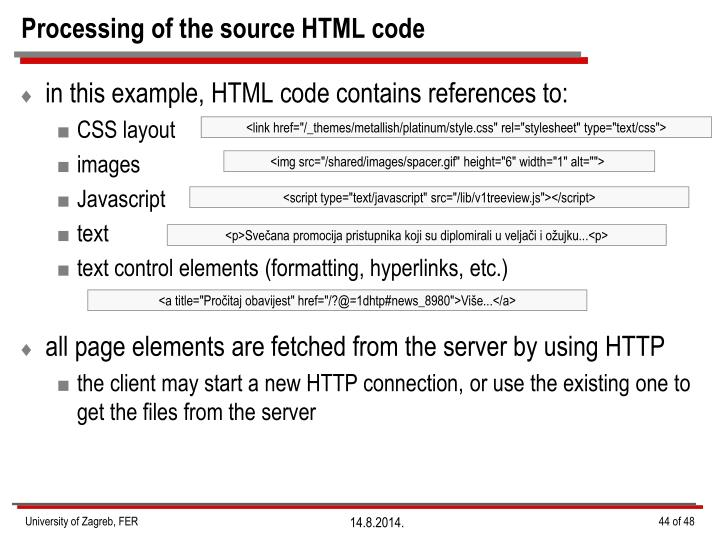 Processing of the source HTML code