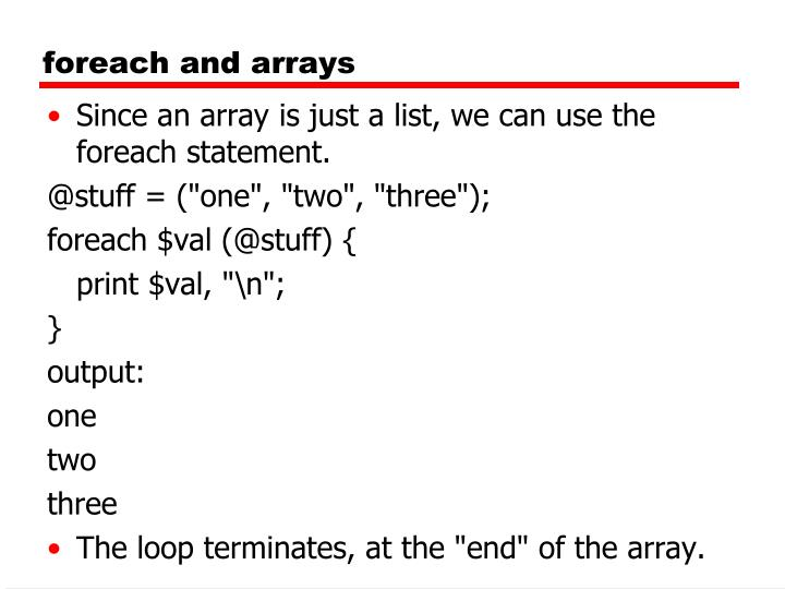foreach and arrays