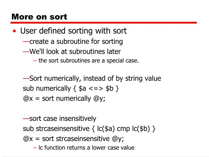 More on sort