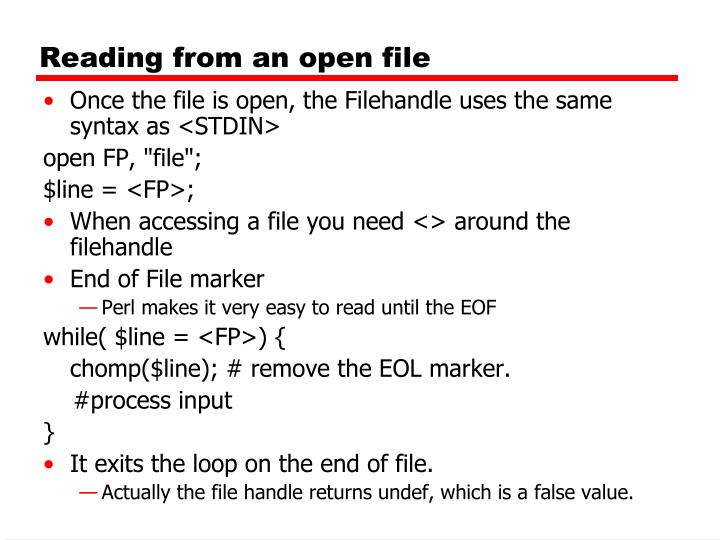 Reading from an open file