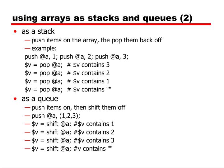 using arrays as stacks and queues (2)