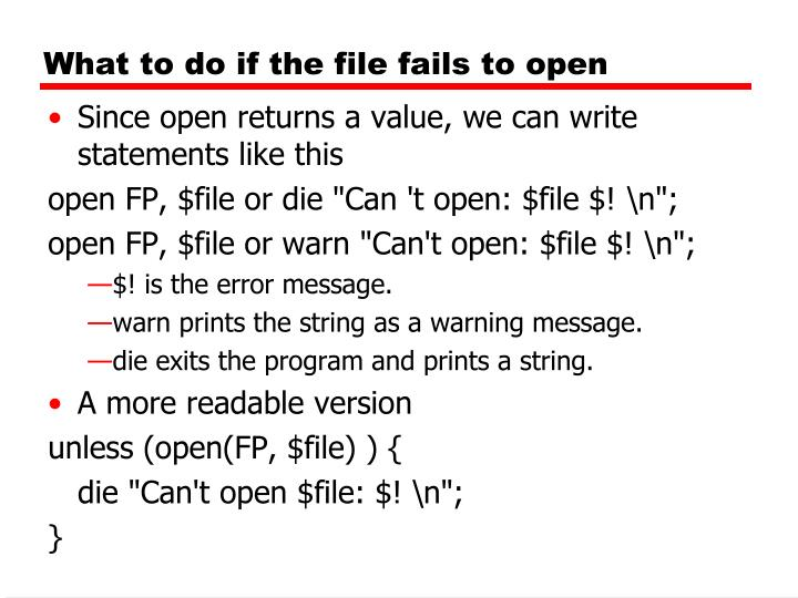 What to do if the file fails to open
