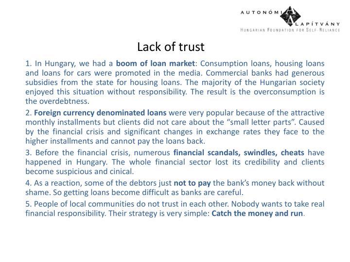 Lack of trust