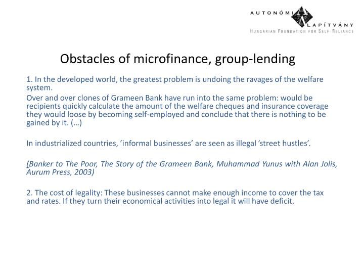 Obstacles of microfinance, group-lending