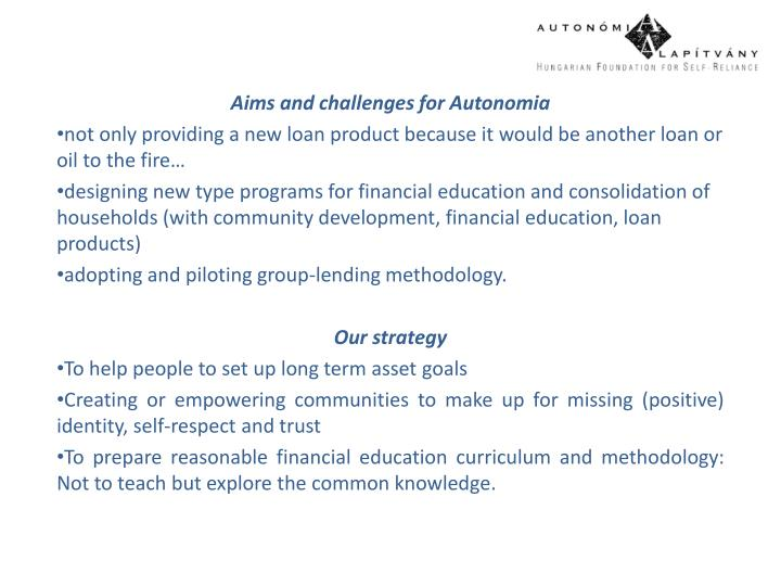 Aims and challenges