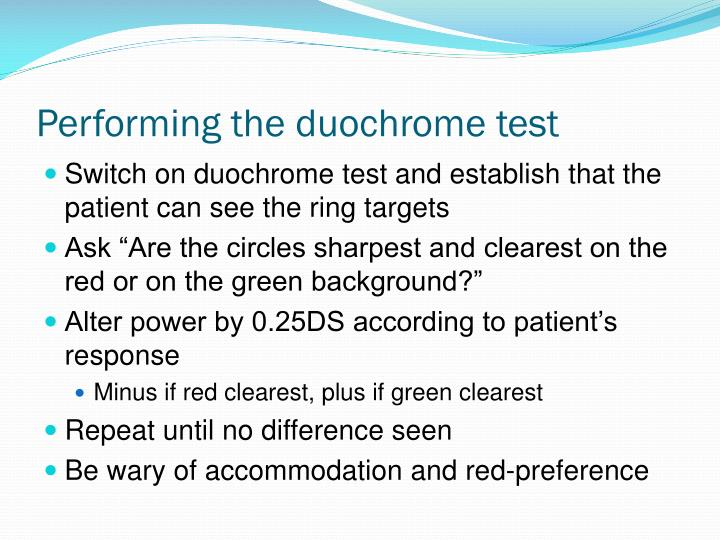 Performing the duochrome test
