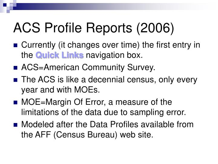 ACS Profile Reports (2006)