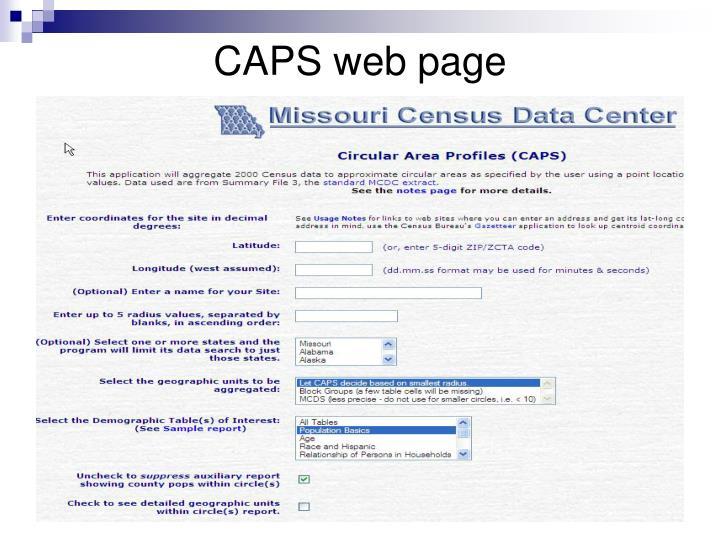 CAPS web page