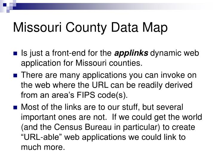 Missouri County Data Map
