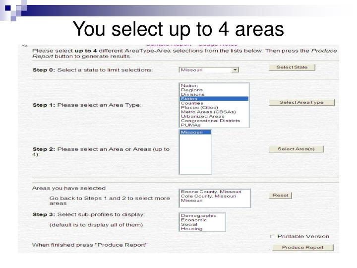 You select up to 4 areas