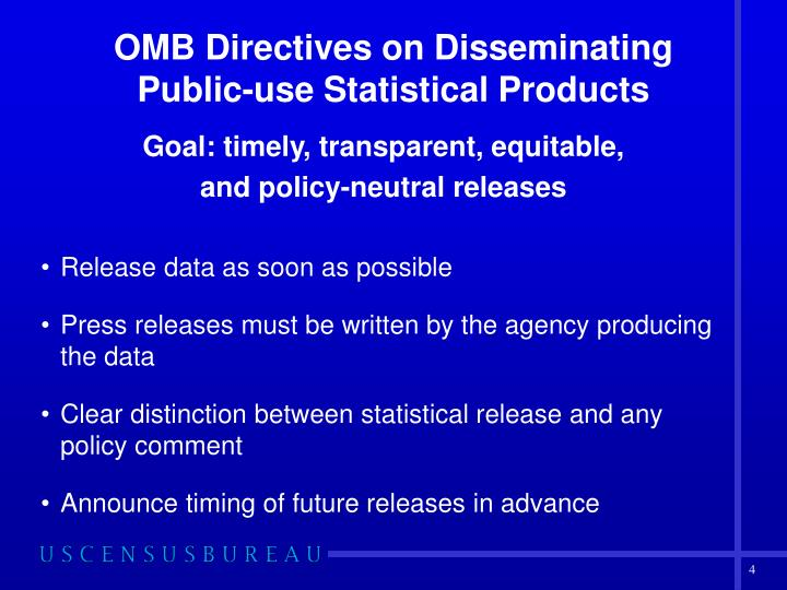OMB Directives on Disseminating