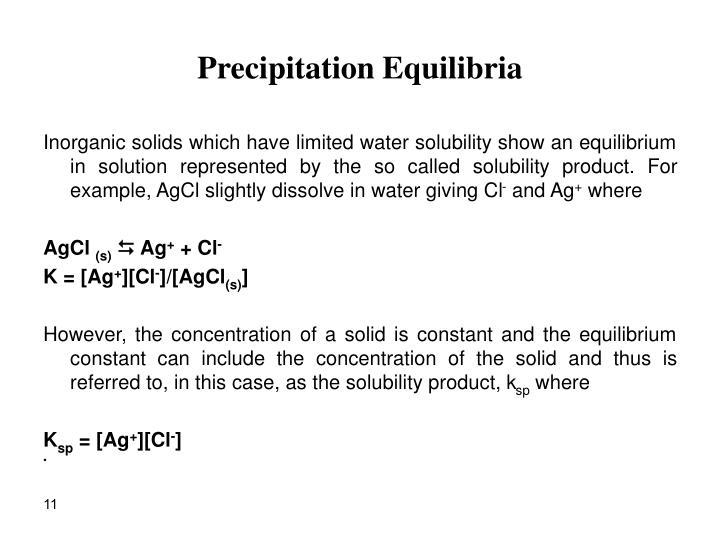 Precipitation Equilibria