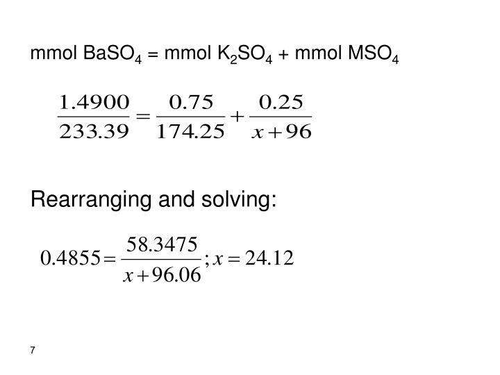mmol BaSO