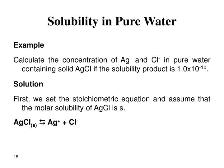 Solubility in Pure Water