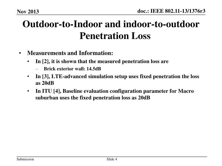 Outdoor-to-Indoor and indoor-to-outdoor Penetration Loss