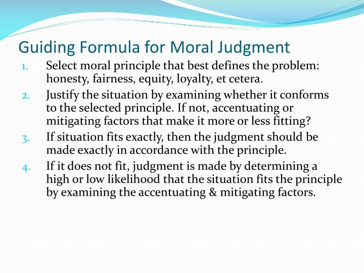 Guiding Formula for Moral Judgment
