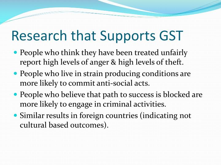 Research that Supports GST