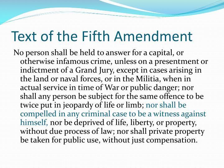 Text of the Fifth Amendment