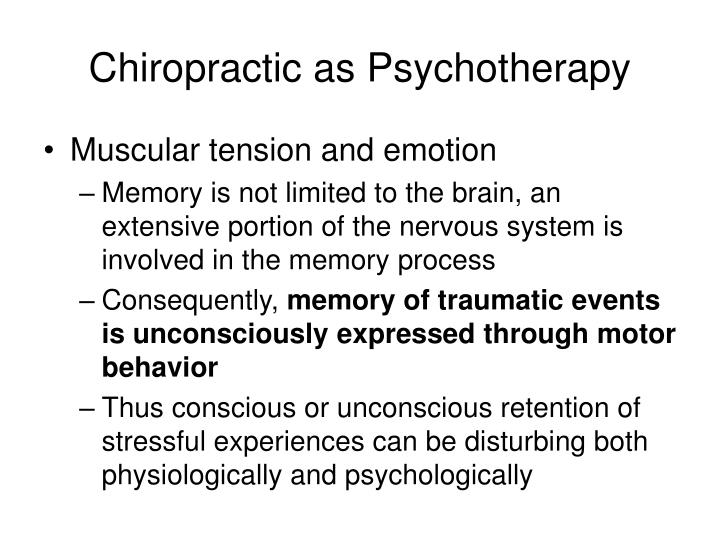 Chiropractic as Psychotherapy