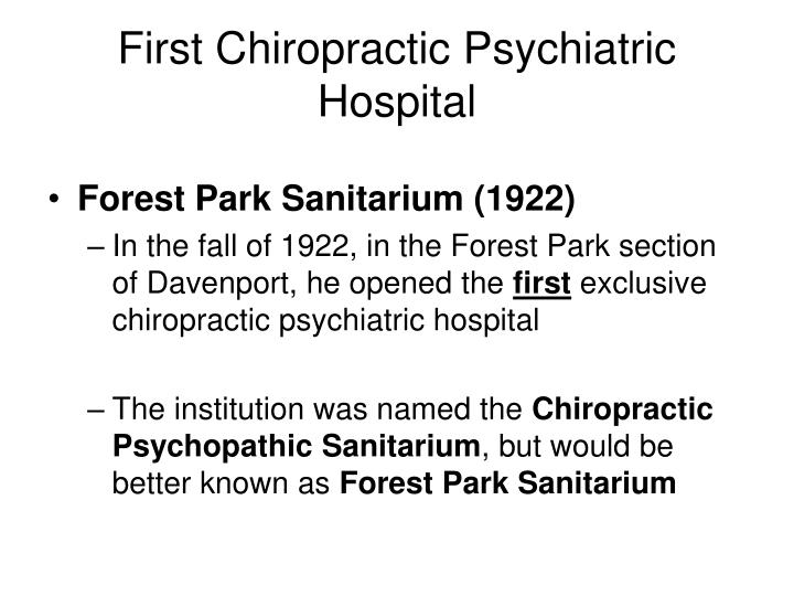 First Chiropractic Psychiatric Hospital
