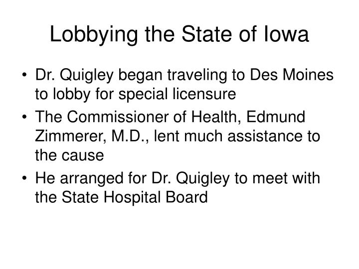 Lobbying the State of Iowa