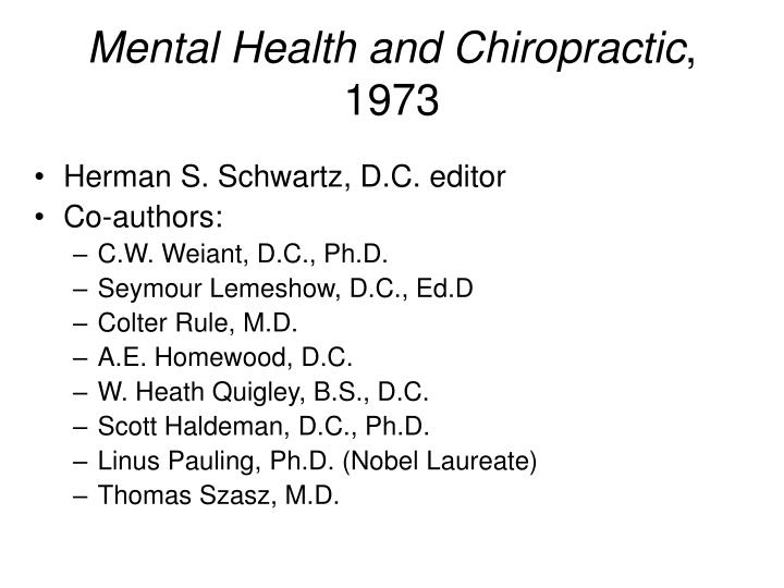Mental Health and Chiropractic
