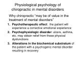 physiological psychology of chiropractic in mental disorders