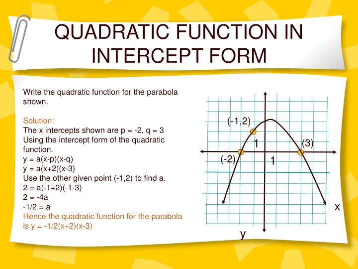 QUADRATIC FUNCTION IN INTERCEPT FORM