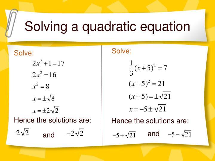 Solving a quadratic equation