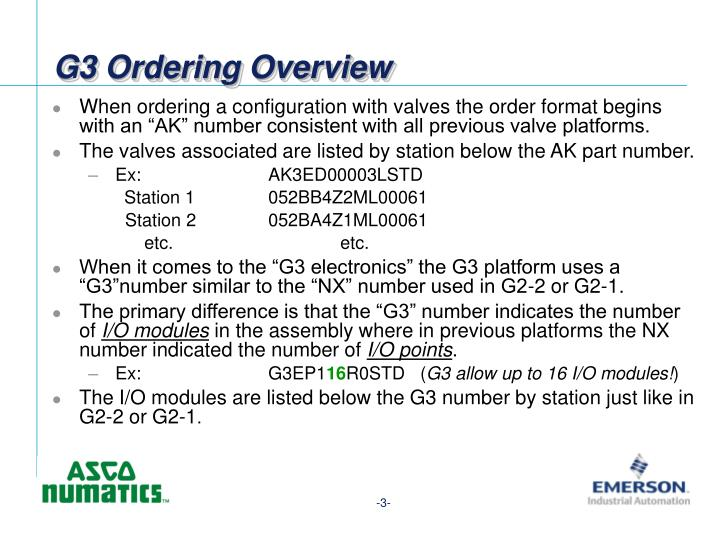 G3 Ordering Overview