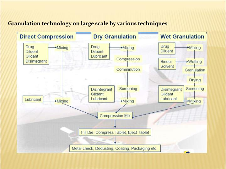 Granulation technology on large scale by various techniques