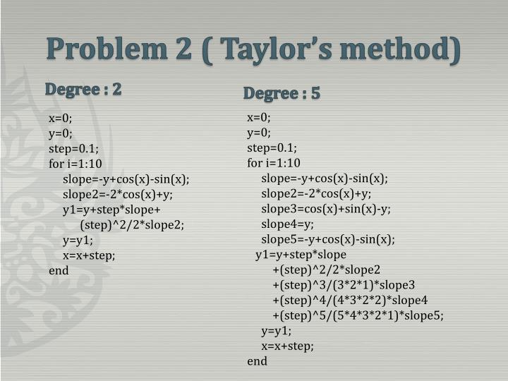 Problem 2 ( Taylor's method)