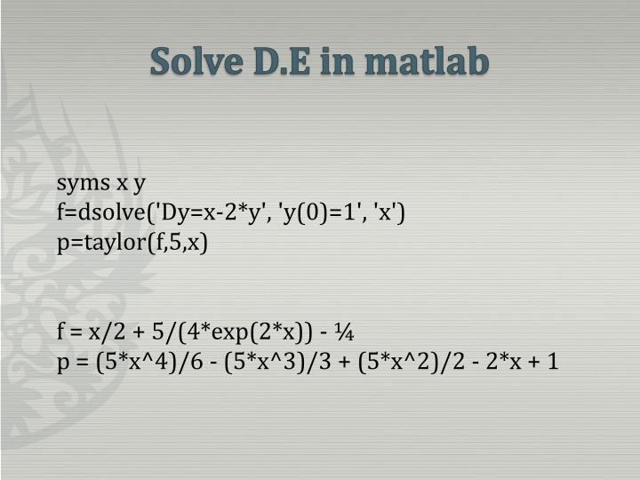 Solve D.E in