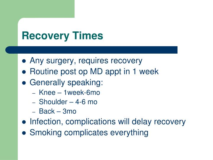 Recovery Times