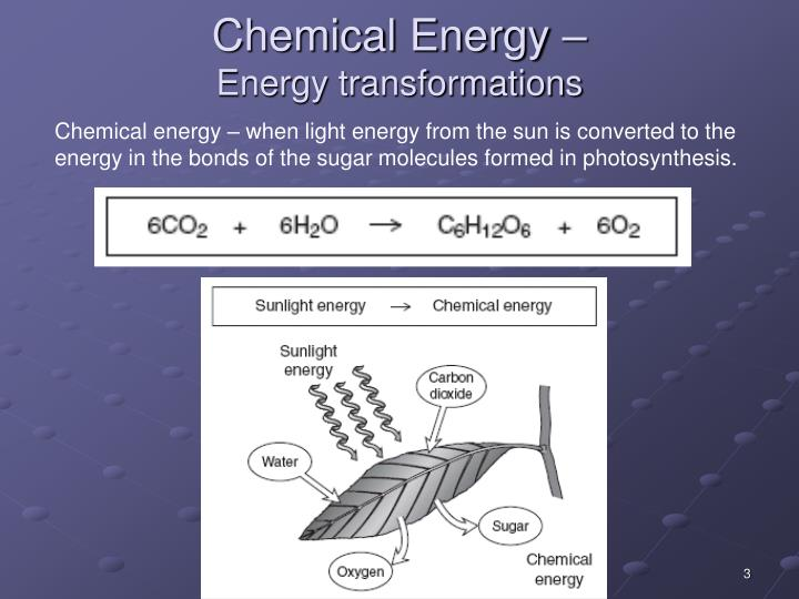 Chemical energy energy transformations