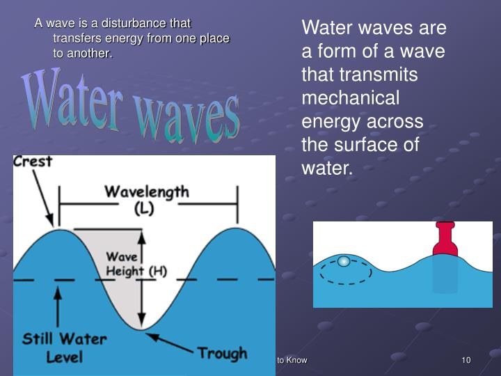Water waves are a form of a wave that transmits mechanical energy across the surface of water.