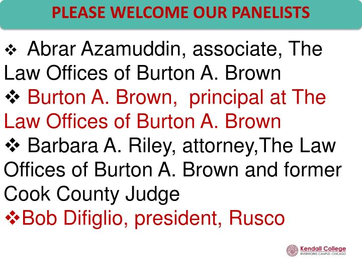 Please welcome our panelists