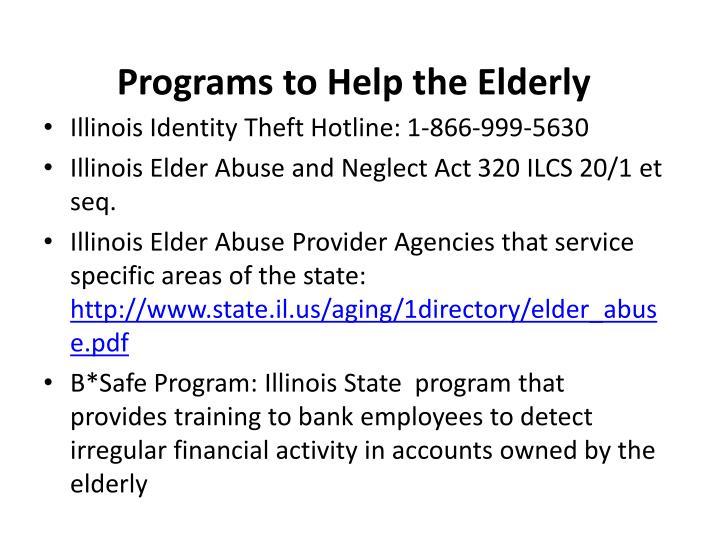 Programs to Help the Elderly