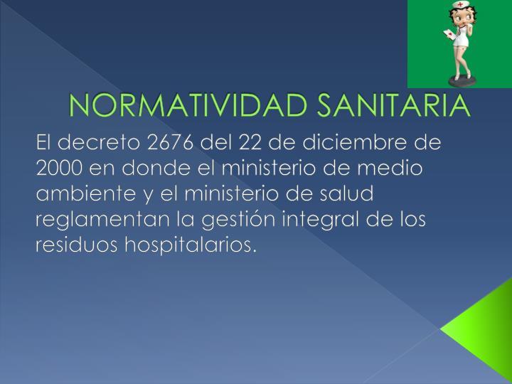 NORMATIVIDAD SANITARIA